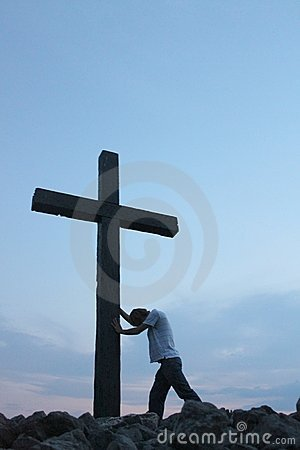 Free Man At The Cross 1 Royalty Free Stock Photos - 15951368
