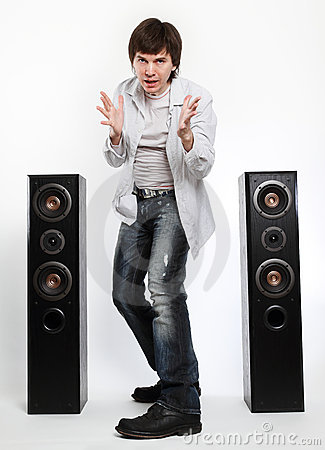 Man with audio system.