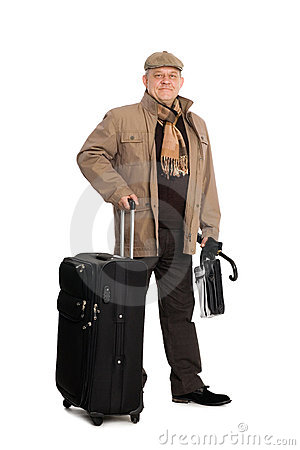 Man in the autumn clothes with luggage.