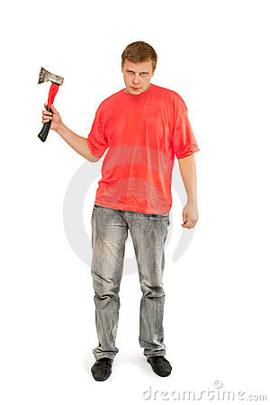A man with an ax in his hand
