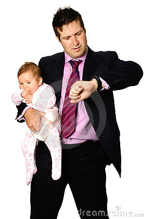 Man with baby looking at watch