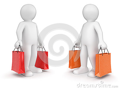 Man and bags (clipping path included)