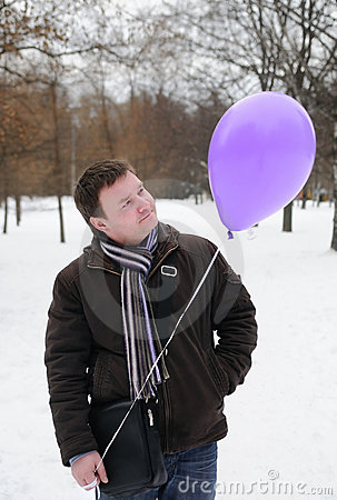 A man with balloon