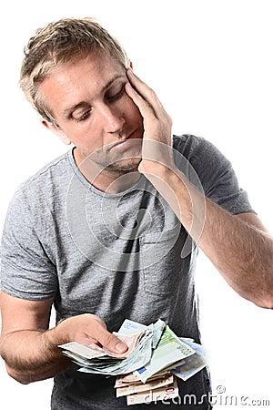 Man banknotes worried