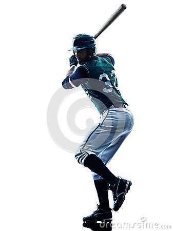 Free Man Baseball Player Silhouette Isolated Stock Photo - 52091830