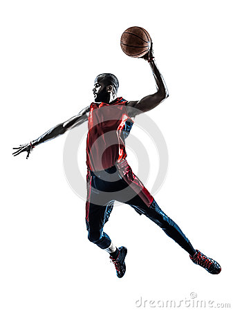 Free Man Basketball Player Jumping Dunking Silhouette Stock Image - 38904051