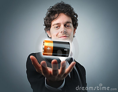 Man with battery