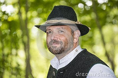 Man with Bavarian traditional black hat