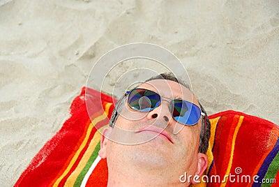 Man beach relax sunglasses