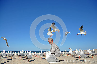 Man on beach surprized by flock of seagulls