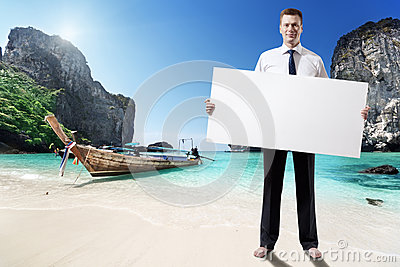 Man on the beach of Thailand