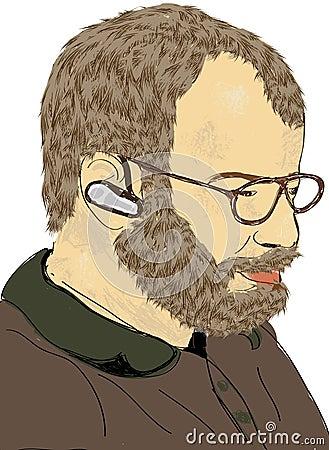 Man with beard, glasses, ear piece