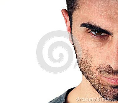 Man with beard, half face