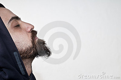 Man with beard in meditation