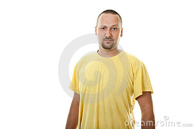 Man with a beard and mustache in yellow shirt