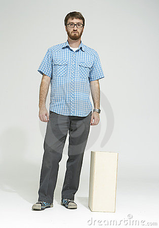 Man with beard standing in studio 01