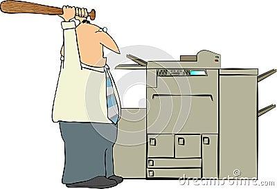Man Beating A Copy Machine