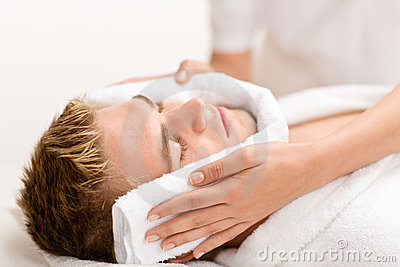 Man beauty - man at luxury spa treatment