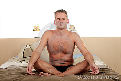 Man bedroom yoga