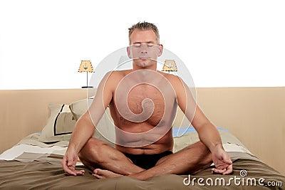 Man bedroom yoga