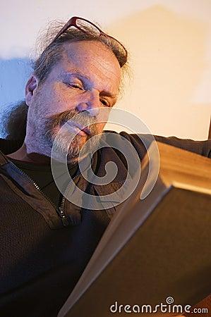 Man behind book