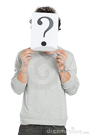 Man Behind Question Mark Sign