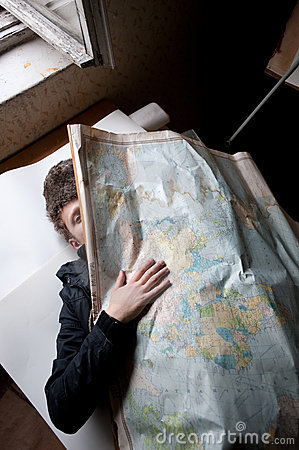Man Behind Russian Map