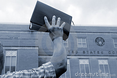Man with bible at protest