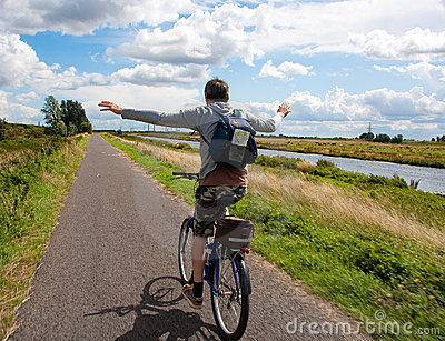 Man on bicycle having fun