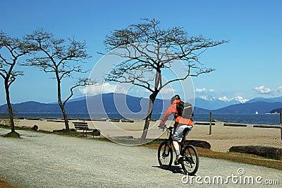 Man bicycling on beach