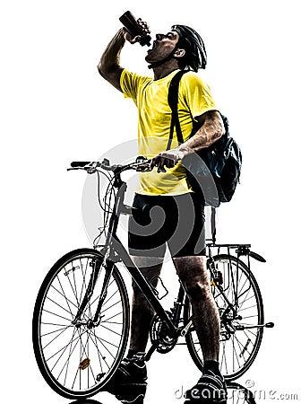 Man bicycling  mountain bike drinking silhouette