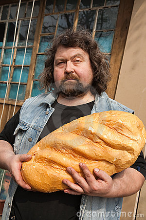 Man with big bread