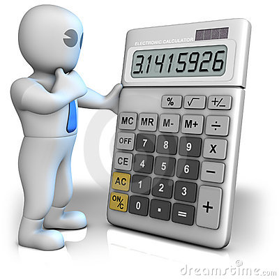 A man with a big calculator which shows pi number