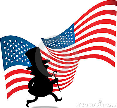 Man with big hat and US flag