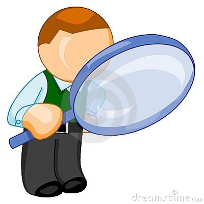 Man with big magnifying glass looks for something