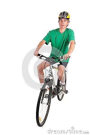 Man on bike in studio