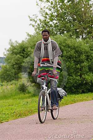 A man biking