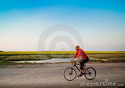 Man biking in motion