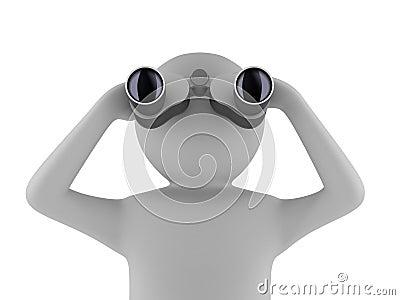 Man with binocular on white background Stock Photo