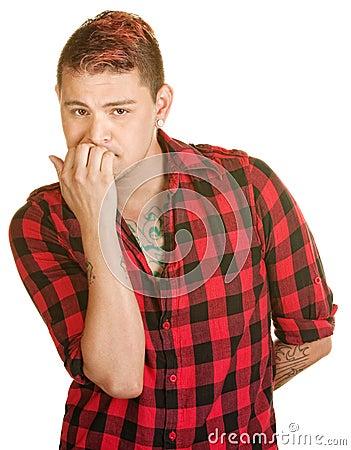Man Biting Fingernails
