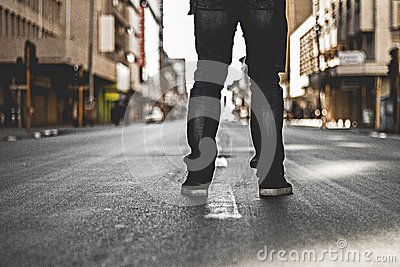 Man In Black Denim Jeans Standing On Grey Concrete Road Free Public Domain Cc0 Image