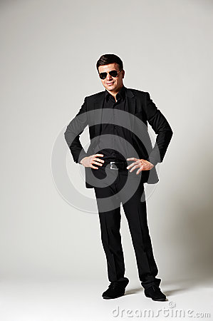 Man in black formal wear