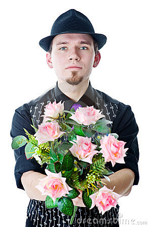 Man in black hat with flowers