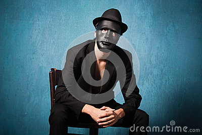 Man with black mask
