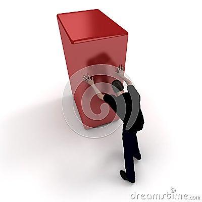 Man in black pushing a red block