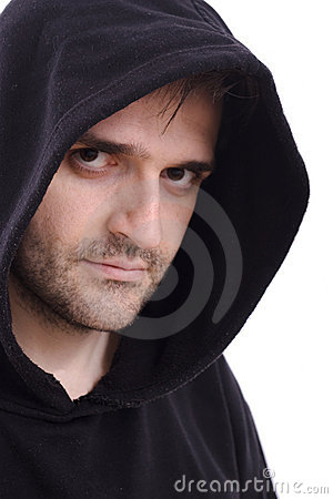 Man in black sweatshirt with hood white background