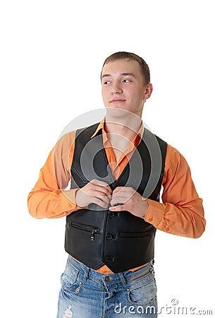 Man in a black waistcoat