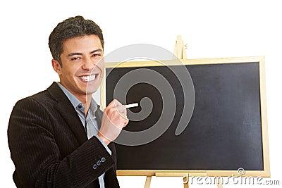 Man with blackboard