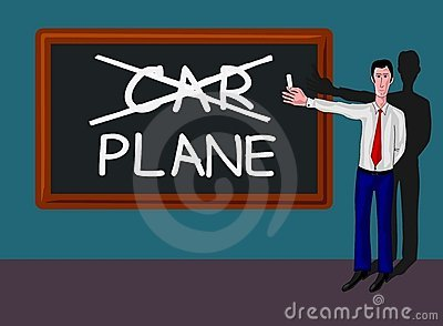 Man with blackboard with car-plane concept