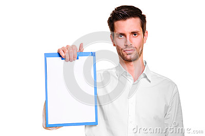 Man with blank in hand